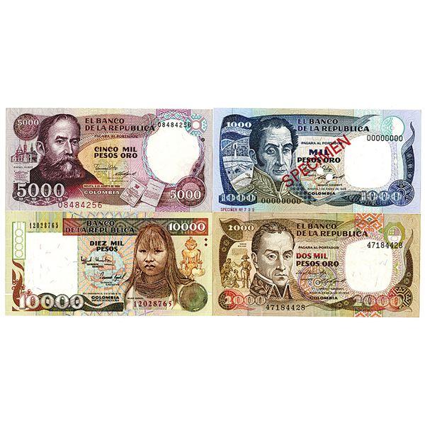 Banco de la Repìblica. 1984-1994. Lot of 4 Issued and Specimen Notes.