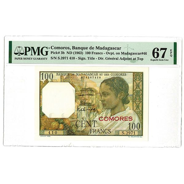 Banque de Madagascar. ND (1963) Issue Banknote.