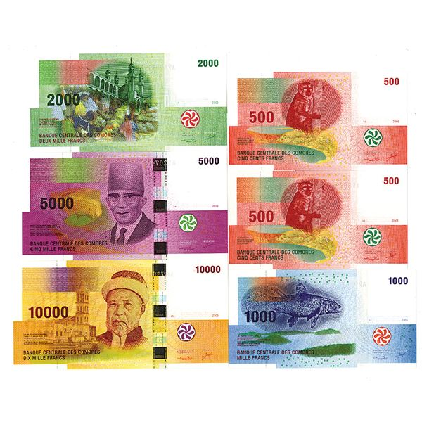 Banque Centrale des Comores. 2005-2006. Lot of 6 Issued Notes.