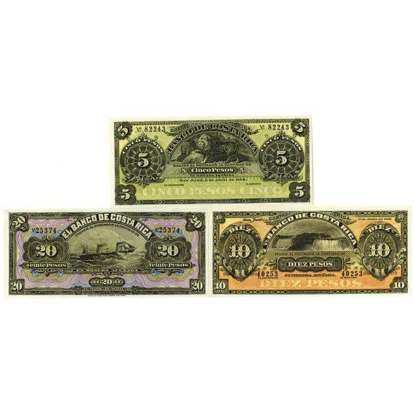 Banco de Costa Rica. 1899. Lot of 3 Remainder Notes.