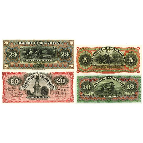 Banco de Costa Rica. 1901-1906. Lot of 4 Remainder and Never Issued Banknotes.