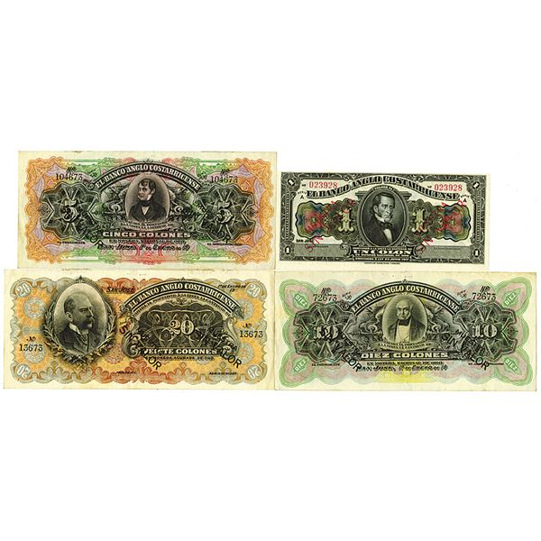 Banco Anglo Costarricense. 1903-1917 (1963). Lot of 4 Specimen Notes.