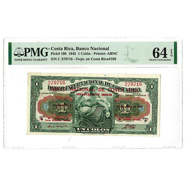 Banco Nacional de Costa Rica. 1943 Issue Banknote.