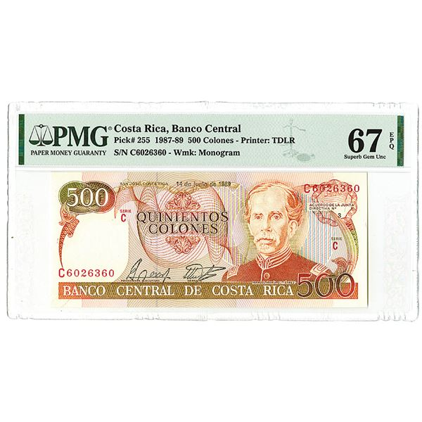 Banco Central de Costa Rica. 1989. Issued Banknote.