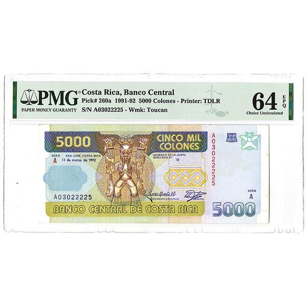 Banco Central de Costa Rica. 1992. Issued Banknote.