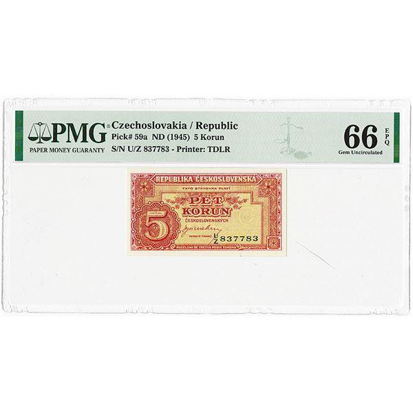 Republika Ceskoslovenska, ND (1945) Issue Banknote