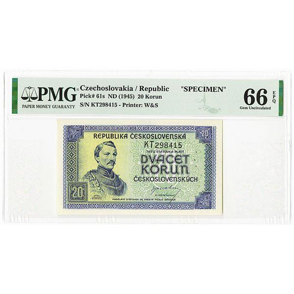 Republika Ceskoslovenska, ND (1945) Specimen Banknote