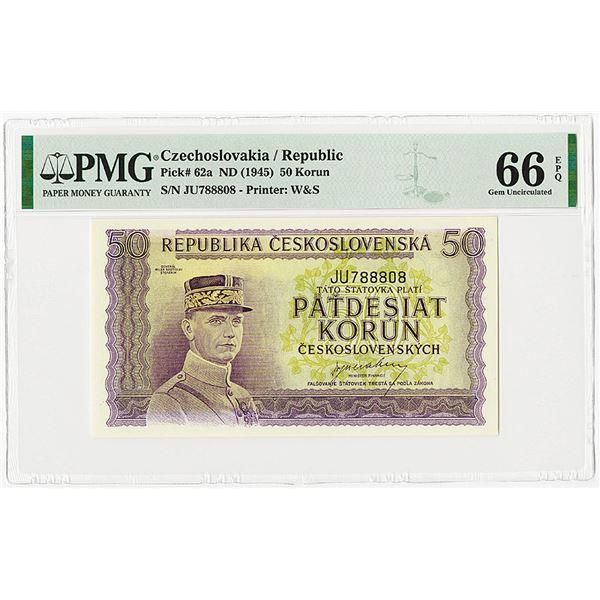 Republika Ceskoslovenska, ND (1945) Issue Banknote.