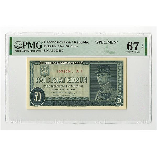"""Republika Ceskoslovenska. 1948. """"Top Pop"""" Issued Banknote."""