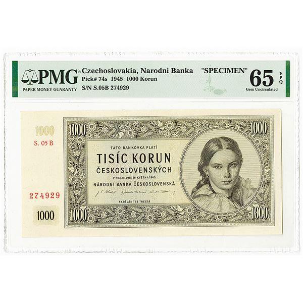 Republika Ceskoslovenska, 1945 Specimen Banknote.