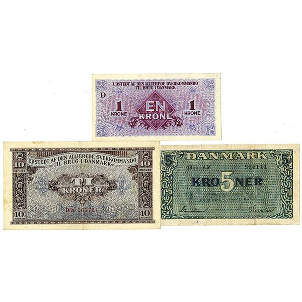 Danmarks Nationalbank and Allierede Overkommando Issues, 1944-1945. Lot of 3 Issued Notes.