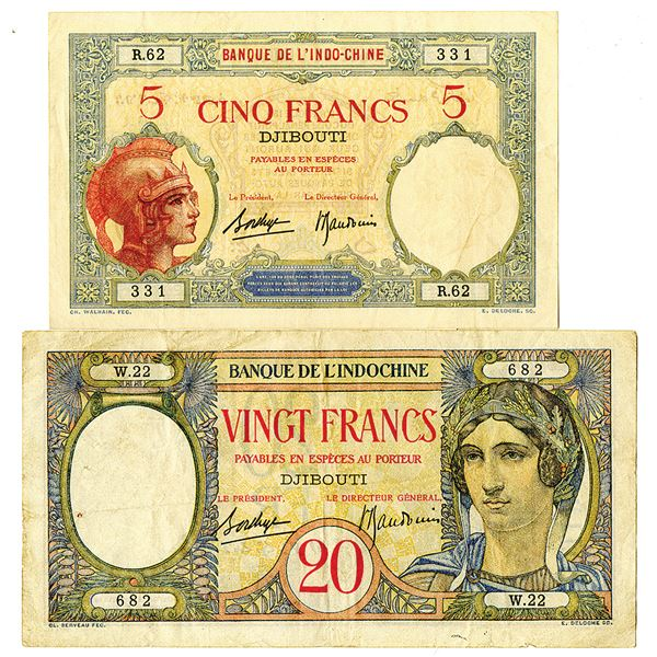 Banque de l'Indo-Chine. 1928-1938. Lot of 2 Issued Notes.