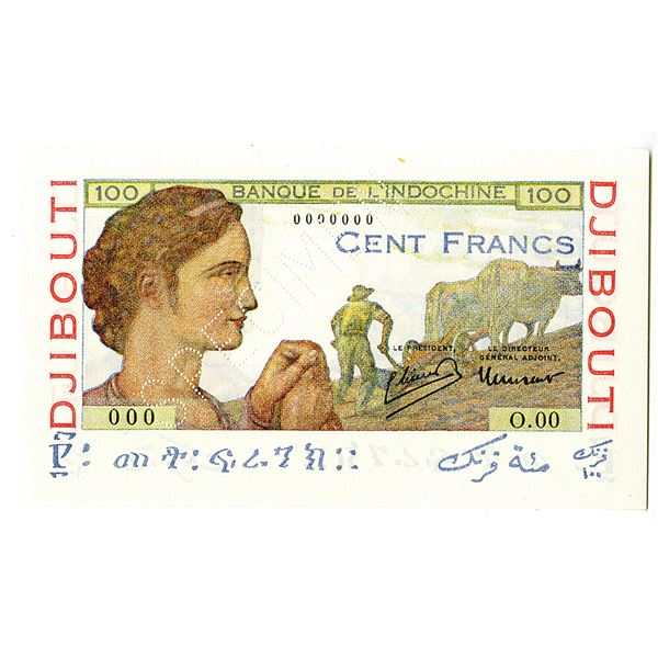 French Somaliland, Banque de l'Indochine. ND (1946). Specimen Banknote.