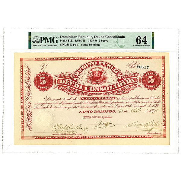 Dominican Government, 1876, Consolidated Public Debt Bond
