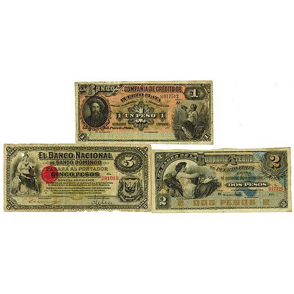Compa_ia de Cr_dito de Puerto Plata & Banco Nacional de Santo Domingo. ND (1880-1889). Lot of 3 Issu