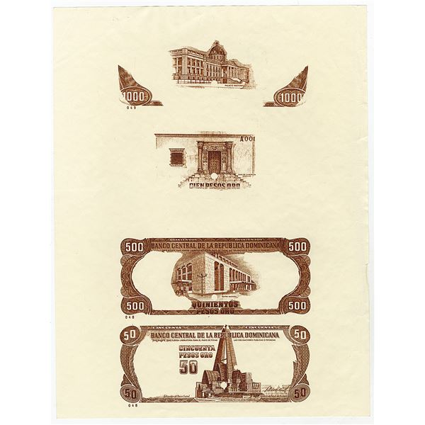 Banco Central De La Republica Dominicana ca.1970-80s Compound Trial Color Proof Sheet.