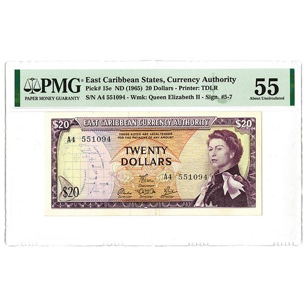 East Caribbean Currency Authority. ND (1965). Issued Banknote.