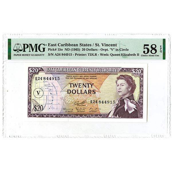 """East Caribbean Currency Authority. Overprint """"V"""" in Circle, ND (1965). Issued Banknote."""