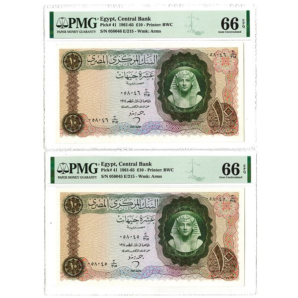 Central Bank of Egypt. 1964. Lot of 2 Sequential Issued Notes.