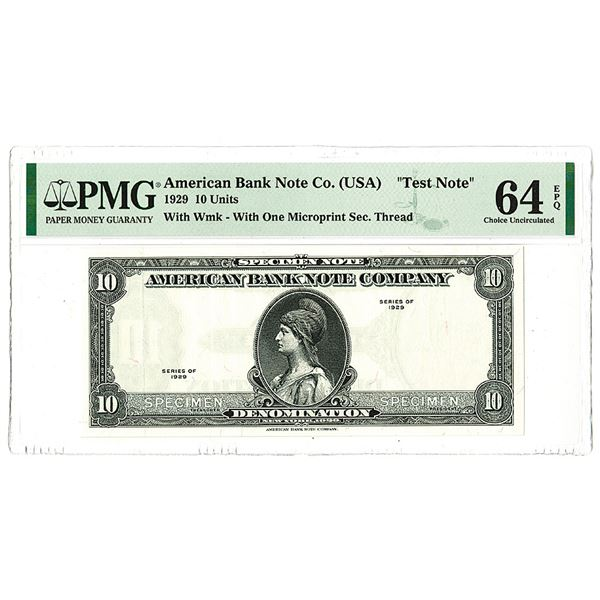American Bank Note Co.. 1929 (1980-90's)Test Note With Estonia Castle Watermark.