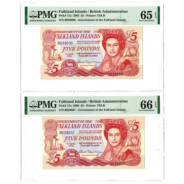 Government of the Falkland Islands. 2005. Lot of 2 Sequential Issued Banknotes.