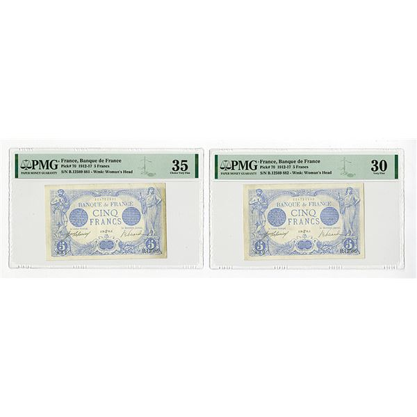 Banque De France, 1916 Issue Sequential Banknote Pair.