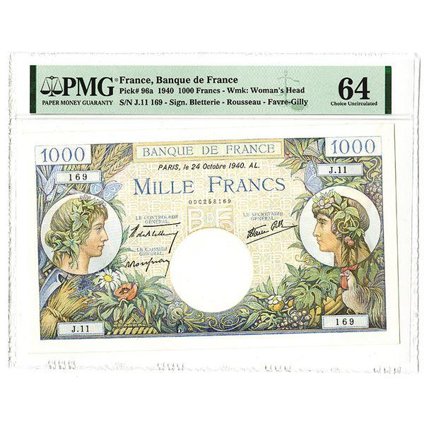 Banque de France. 1940 Issue Banknote.