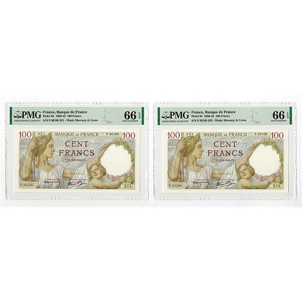 Banque De France, 1942 Issue Sequential High Grade Banknote Pair.