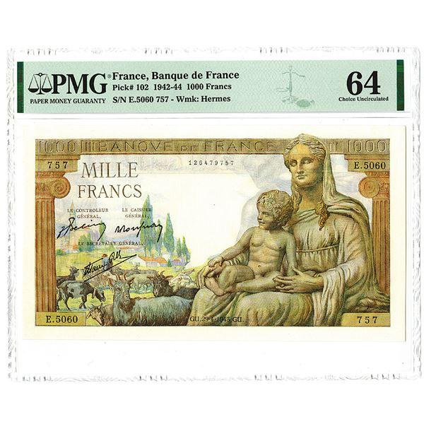 Banque de France. 1943 Issue Banknote.