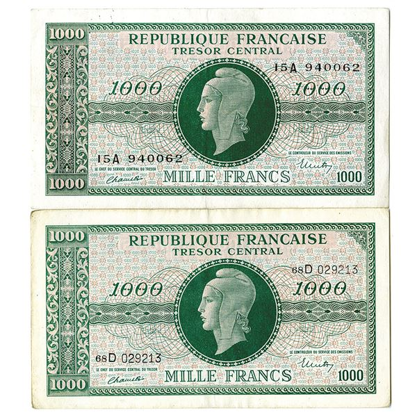 Tresor Central. ND (1944). Lot of 2 Issued Notes.