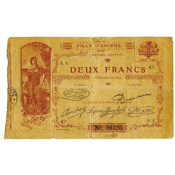 Chambre de Commerce d'Amiens. 1914. Issued Emergency Scrip Note.