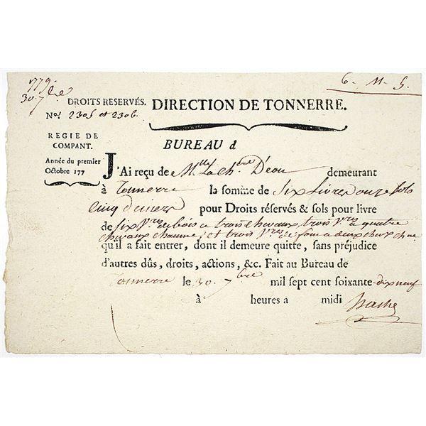 Direction de Tonnerre, 1779 Chevalier d'Eon Payment Document in French