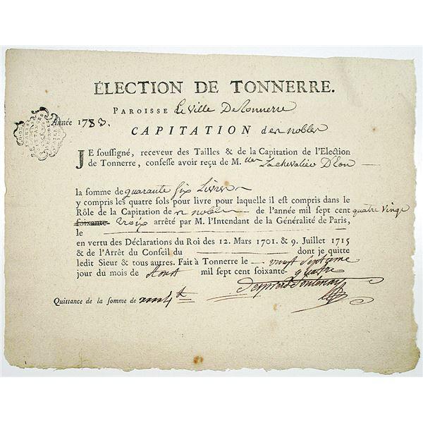 Election de Tonnerre, 1783 Chevalier d'Eon Payment Document in French