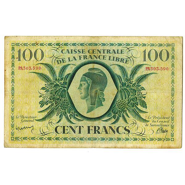 Caisse Centrale De La France Libre, 1941 Issue Banknote.