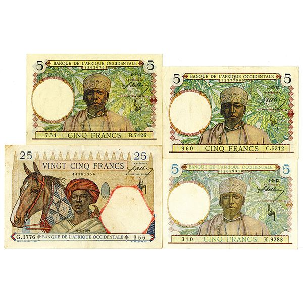 Banque de l'Afrique Occidentale. 1938-1942. Lot of 4 Issued Notes.