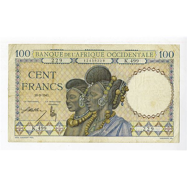 Banque de l'Afrique Occidentale. 1941 Issue Banknote.
