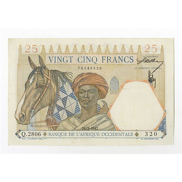 Banque de l'Afrique Occidentale. 1942 Issue Banknote.