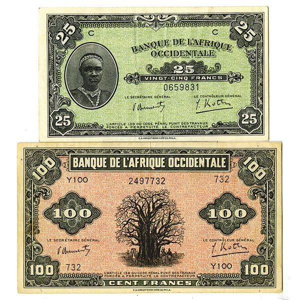 Banque de l'Afrique Occidentale. 1942. Lot of 2 Issued Notes.