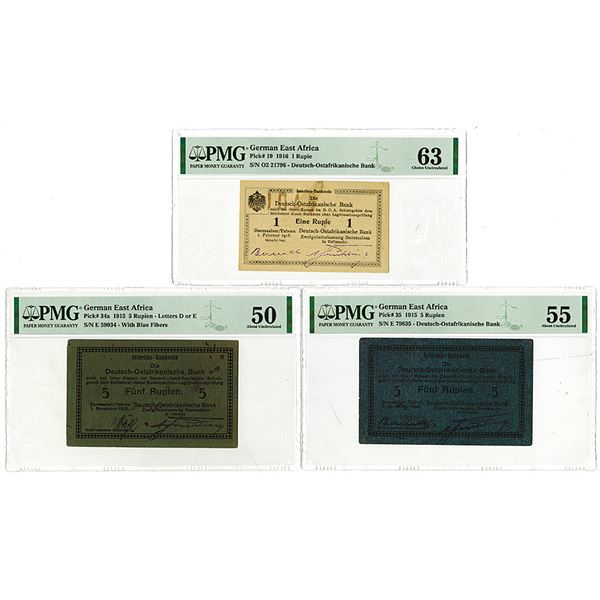 Deutsch-Ostafrikanische Bank. 1915-1916. Lot of 3 Issued Notes.