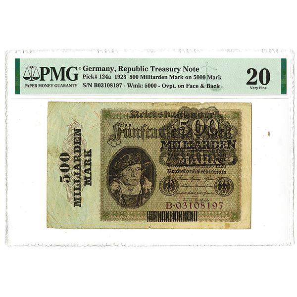 Republic Treasury Note. 1923 Issue Banknote.