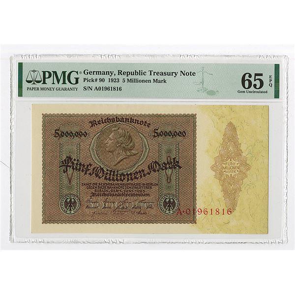 Germany, Republic Treasury Note, 1923 5 Millionen Mark, P-90 PMG Gem Unc 65 EPQ