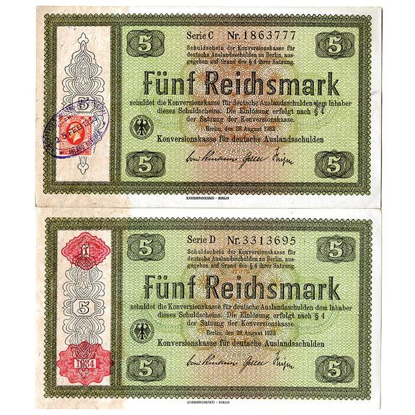 Conversion Fund for German Foreign Debt. 1933. Lot of 2 Issued Notes.