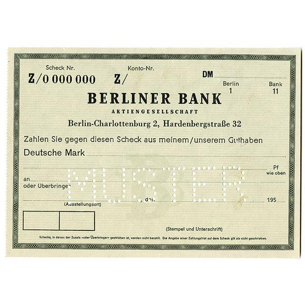 Berliner Bank. 1950s. Specimen Bank Check Note.