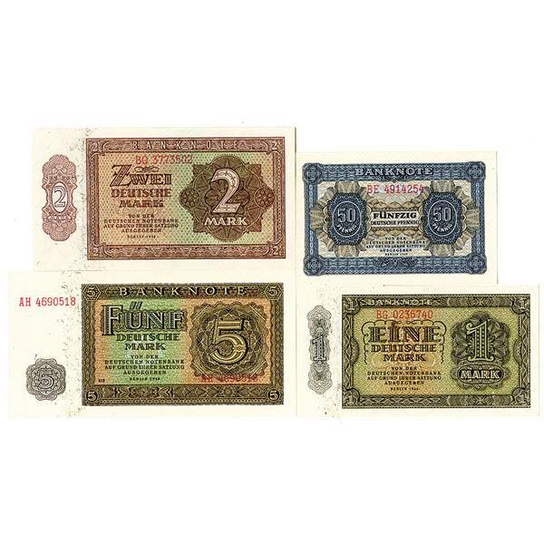Deutschen Notenbank. 1948. Lot of 8 Issued Notes.