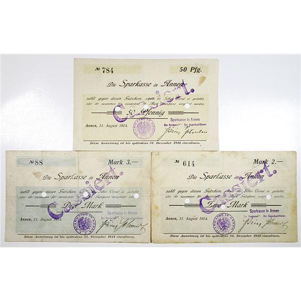 Annen. Die Sparkasse in Annen, 1914. Lot of 3 Issued Notgeld Notes.