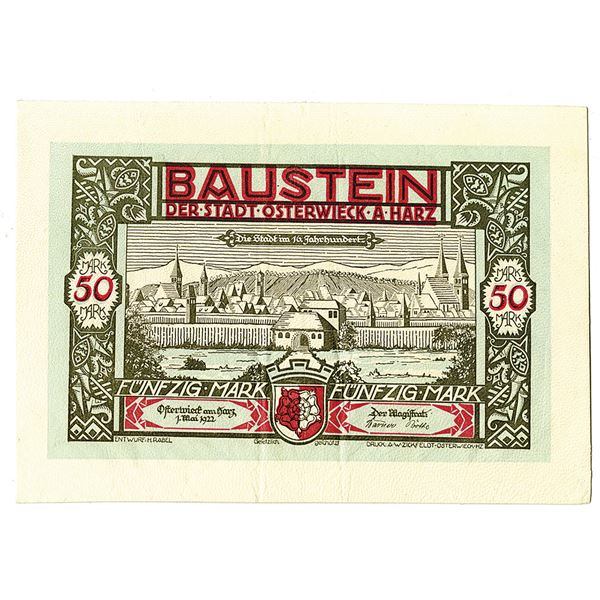 Baustein, Der Stadt Osterwieck a Harz. 1922. Issued Leather Notgeld Note.