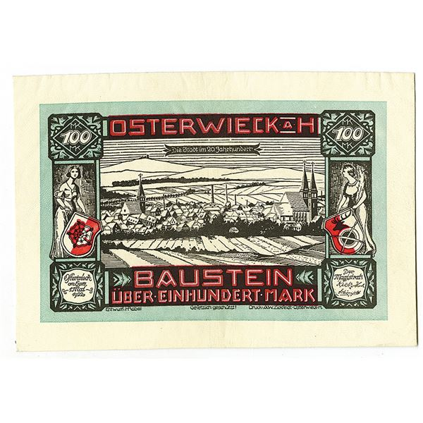 Baustein. 1922. Issued Leather Notgeld Note.