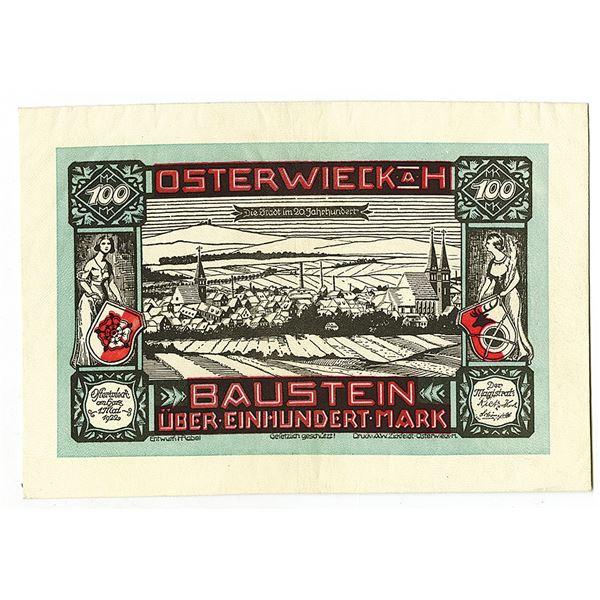 Baustein. 1922. Issued Leather Notgeld Note.