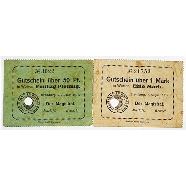 Bromberg. 1914. Lot of 2 Issued Emergency Notgeld Notes.