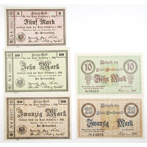 Greifswald & Grônberg. 1918. Lot of 5 Issued Notgeld War Emergency Scrip Notes.